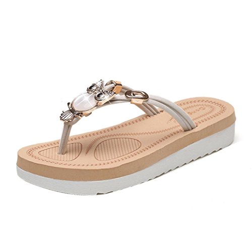 Transer Ladies Owl Decor Flat Flip Flops Slippers Fashion Women Comfortable Casual Sandals Beach Sandals Shoes White