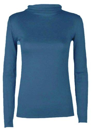 lunghe con Hanger Blue Hot dolcevita maniche e collo da donna maglietta wzwxvdqIR