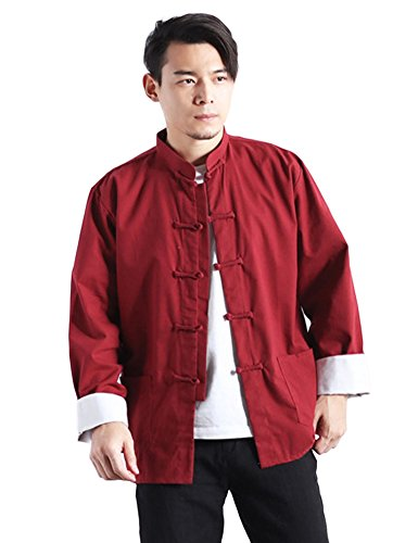 Traditional Style Jacket - Idopy Men`s Chinese Traditional Linen Cotton Tai Chi Kung Fu Mandarin Collar Frog-Button Shirt Red Asian XXL US L