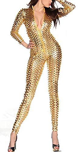 (LHS Charmer Women's Sexy Hollow Catsuit One Piece Metallic Skinny Stretch Bodysuit (M,)