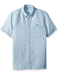 Men's Short Sleeve Hawaii Collar Cotten/Linen Indigo Reg Fit Woven Shirt, CH4974
