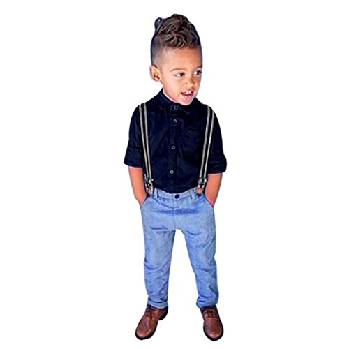 Ecosin® Baby Boy Long Sleeve T-shirt Suspender Straps+Pants Clothing Sets Outfit (5T,
