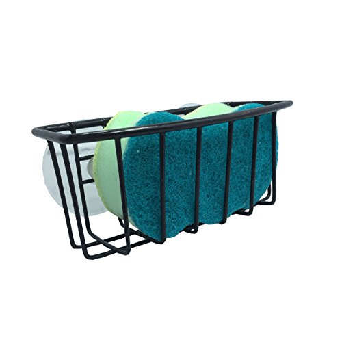 Hopeful by Long-Lived Durable Steel Construction Color Coated Large Suction Cups Kitchen Sink Sponge Storage Organizer Holder (Black)