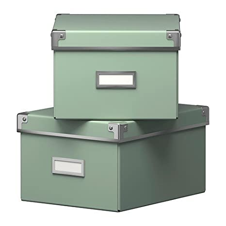 Ikea en efectivo Cajas Con Tapa En Verde; 2 unidades; (21 x 26 x ...