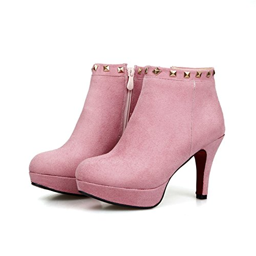 Ankle Rivet Womens Boots Frosted Closed Round Lucksender Pink Toe heels High Zip Side Bv5wax