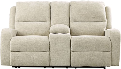 Ashley Krismen Chenille Power Reclining Loveseat with Console and Adjustable Headrest (Sand)