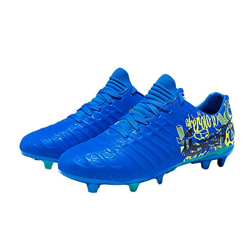 iFANS Men Athletic Outdoor/Indoor Soccer Shoes Boys Football Cleats Sneaker Shoes Blue