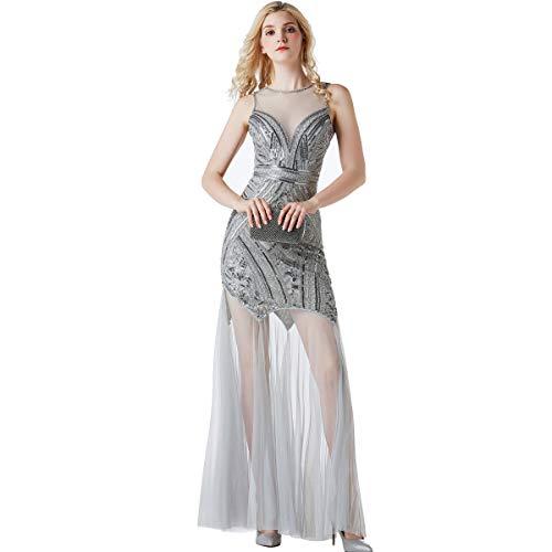 (1920s Sequin Gatsby Maxi Long Evening Dress Semi Formal Wedding Dresses for Women(Gray,Small))