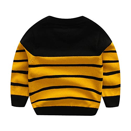 WeddingPach Kids Boys Cable Knit Sweater Long Sleeve,Round Collar Striped Sweatshirt Baby Cotton Pullover Sweater Spring 1-2T (Yellow, 2T)