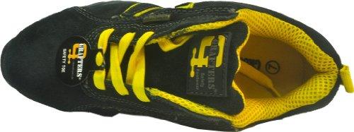 Grafters - Calzado de protección de cuero para hombre negro negro Navy Blue/Yellow Real Suede