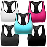 MIRITY Women Racerback Sports Bras - High Impact Workout Gym Activewear Bra Color Black Grey Blue Hotpink White Pack of 5 Size L