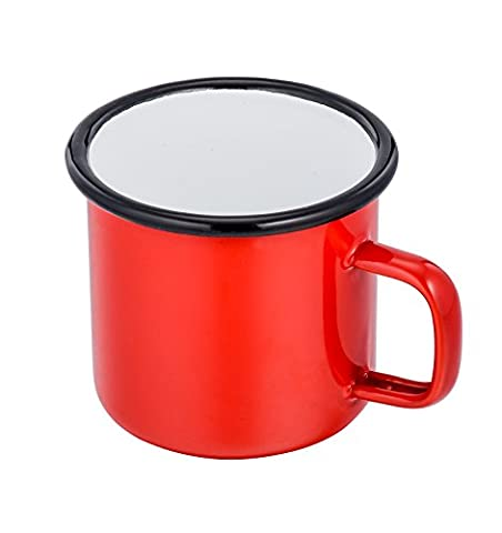 TeamFar 24 Ounce Ceramic Coating Coffee Tea Cups, Enamel Juice Beer Beverage Camping Soup Mugs, Bright Color & Classic Look, Hand-wash Recommendation (Red)
