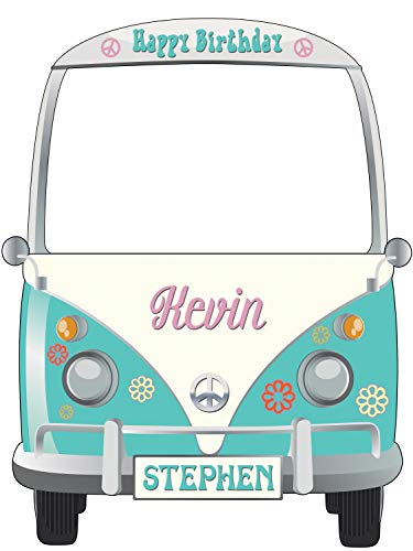 Hippie Decor Vans Photo Booth Props- sizes 36x24, 48x36; Personalized 1960s Hippie Selfie Frame, Peace, 60s - 70s, Hippie Car photobooth, Handmade Party Supplies Birthday Decorations, Poster Frame]()