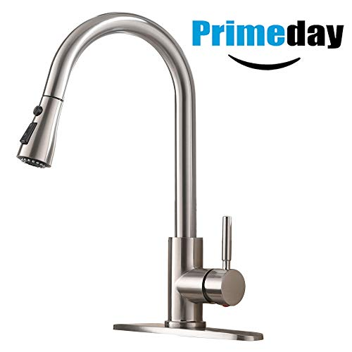 Single Handle High Arc Pull out Brushed Nickel Kitchen Faucet, Single Level Stainless Steel Kitchen Sink Faucets with Pull down -