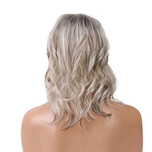 Puyujin Grayish White Mixed Color Short Layer Nature Curly with Bangs Synthetic Wig Heat Resistant Weave Full Wigs for Women (Mixed colour, 10 Inch)
