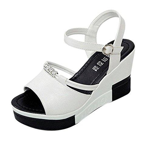 DDLBiz Women's Shoes Summer Wedge Platform Sandals Casual Roman Sandals (US:4.5(8.6