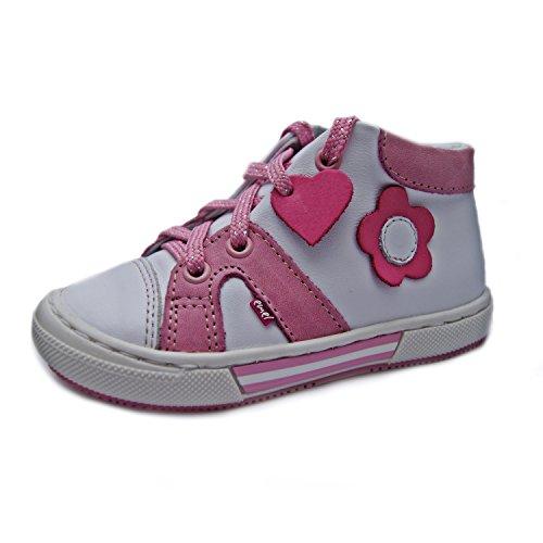 Kinderschuhe Lauflernschuhe für Mädchen Turnschuhe weiß pink Modell Emel 2052-1 handmade (21)