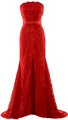 Dress Mermaid Party Formal Strapless Prom MACloth Gown Wedding Evening Women Burgunderrot CSRqawH