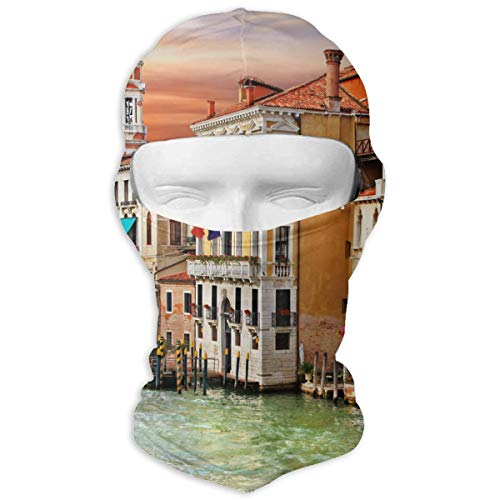 Leopoldson Venice Canal Boat Italy Town Landscape Balaclava UV Protection Windproof Ski Face Masks for Cycling Outdoor Sports Full Face Mask Breathable