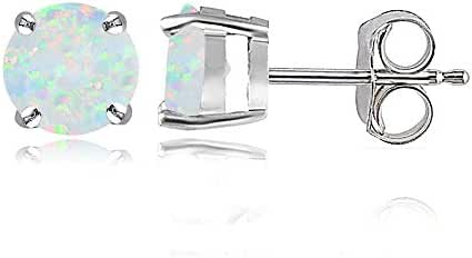 Sterling Silver Created Opal 6mm Round Stud Earrings