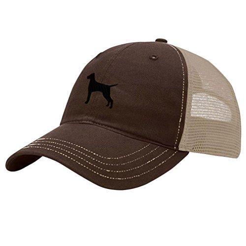 Speedy Pros Vizsla Silhouette Embroidery Design Richardson Cotton Front and Mesh Back Cap Brown/Khaki (Vizsla Hat)