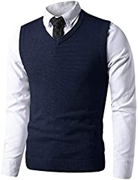 303884e86f62 Mens Slim Fit V Neck Sweater Vest Basic Plain Short Sleeve Sweater Pullover  Sleeveless Sweaters with
