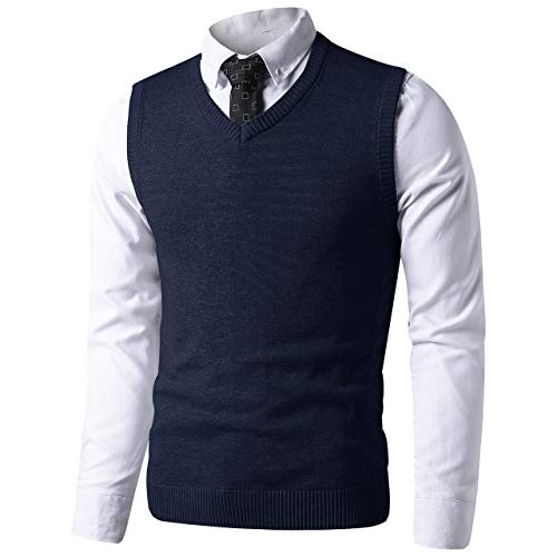 LTIFONE Mens Slim Fit V Neck Sweater Vest Basic Plain Short Sleeve Sweater Pullover Sleeveless Sweaters with Ribbing Edge(Navy Blue,L)