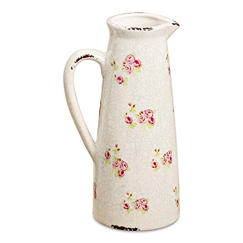 WHW Whole House Worlds Wild Sweetheart Rose Garden Pitcher, Distressed, Vintage Style, Rustic White with Pink and Green Accents Over Terracotta, 10 ¾ Inches Tall, Shabby ()