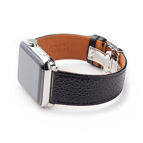 Italian Leather Cell Phone Strap - SONAMU New York Italian Caviar Premium Leather Strap Compatible with Apple Watch Band 42mm, Stainless Steel Clasp, Black