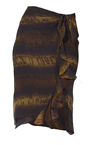 Ralph Lauren Women's Silk Wrap Ombre Skirt Brown (L)