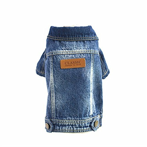 Joopet Pet Dog Clothes Cat Blue Jean Denim Clothing Puppy Coat Jacket Button Front Outfit (L)