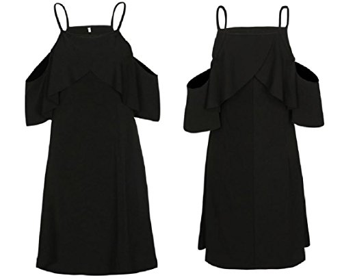 Solid Sexy Soft Coolred Strap Chic Summer Black Women Loose Spaghetti Dress 6qttZIwg