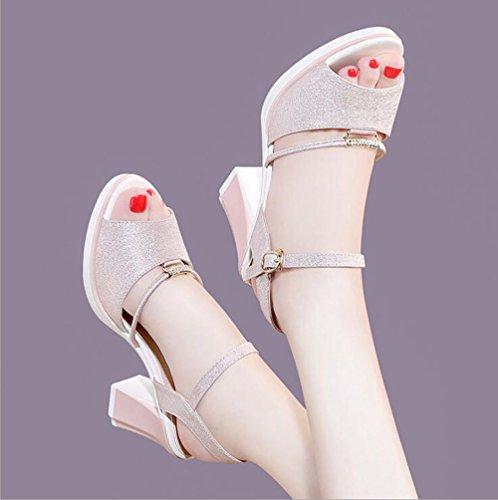 Strass 37 store Pietre Spesso Toe Sandali Scarpe Alti Open Colore Donna Tacchi Shoe Dimensioni Tallone da Pink zATqpa