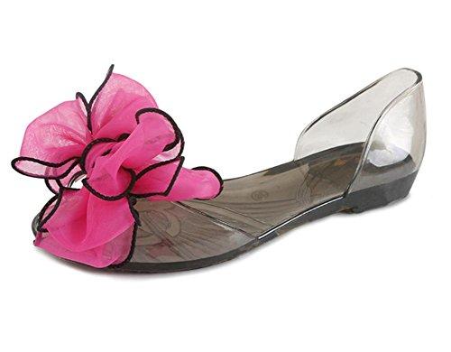 Crystal sandalias de la jalea cabeza de pescado plano con sandalias planas de los zapatos de los estudiantes flores rose red