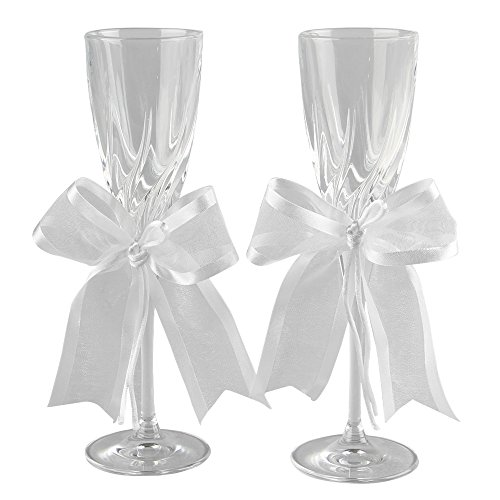 Ivy Lane Design 24-Percent Lead Crystal Simplicity Toasting Flutes, Set of 2, White