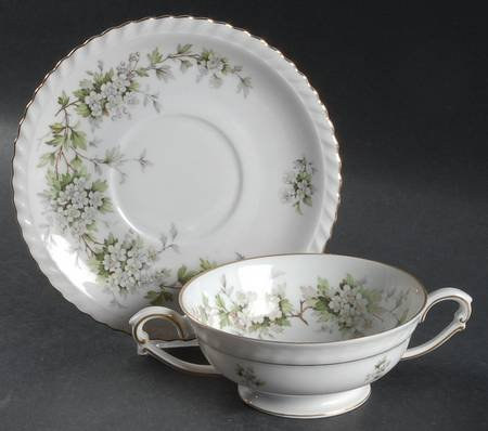 (Vintage Franconia Krautheim Footed Cream Soup Bowl & Saucer Set in the Hawthorn Pattern Featuring White Flowers and Green Leaves Selb Bavaria Germany )