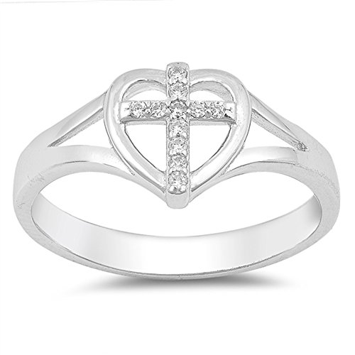 Clear CZ Cross Heart Christian Love Ring .925 Sterling Silver Band Size - Sterling Ring Christian Silver Cross