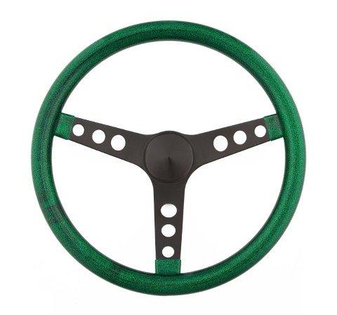 Grant 8452 Steering Wheel Mtl FlakeGreen/Spoke Blk 13.5