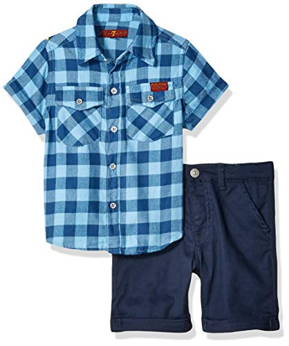 7 For All Mankind Kids Toddler Sleeve Plaid Sport Shirt and Twill Short Set, Little Boy Blue Gingham/Navy, 3T 7 For All Mankind Shirts