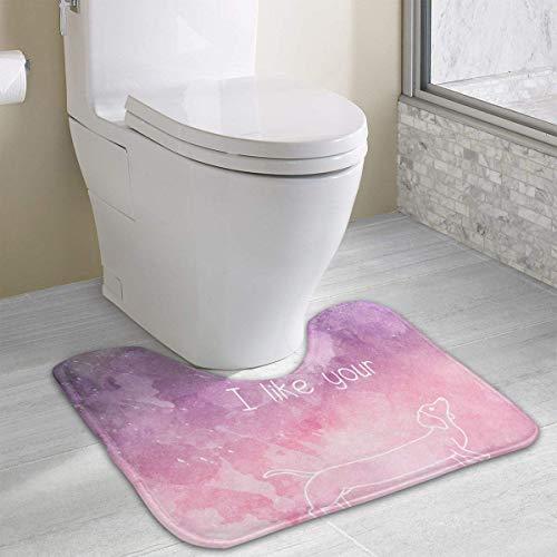Bennett11 I Like Your Weiner Funny Dog U-Shaped Toilet Floor Rug Non-Slip Toilet Carpets Bathroom Carpet 19.2″x15.7″