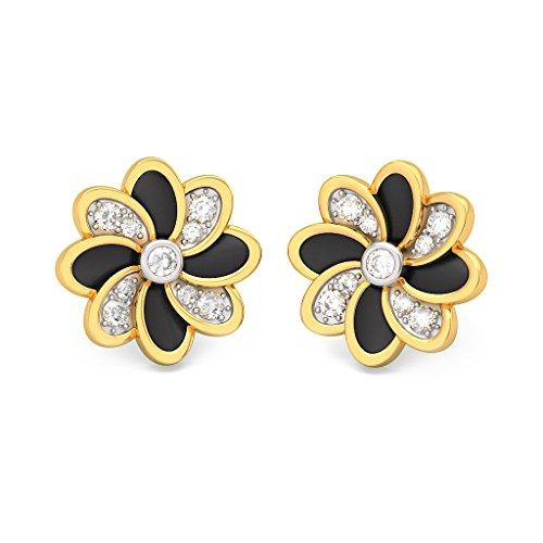 18K Or jaune 0.24CT TW White-diamond (IJ | SI) Boucles d'oreille à tige