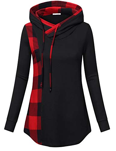 Messic Lightweight Tunic Sweatshirt, Womens Long Tops to Wear with Leggings Funnel Neck Pullover Hoodie Check Contrast Sweater Tunics Casual Autumn Tops Graceful Basic Work Blouse Black XXL