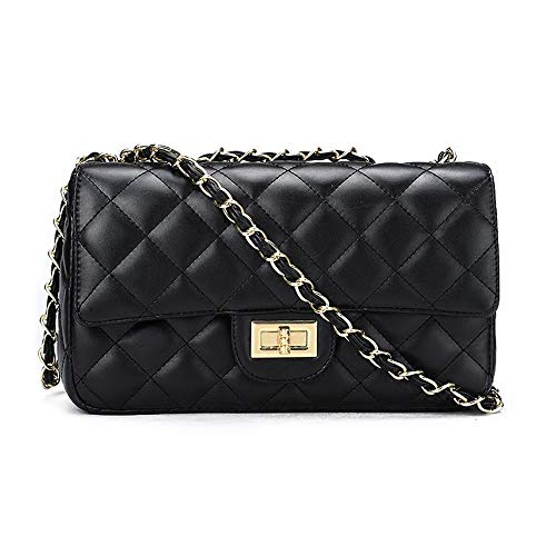 (JOLLQUE Women's Quilted Crossbody Bag,Purse with Chain (Black Large))