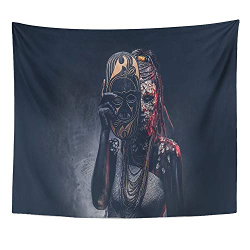 Emvency Tapestry Artwork Wall Hanging Portrait of Witch from The Indigenous African Tribe Wearing Traditional Costume 50x60 Inches Tapestries Mattress Tablecloth Curtain Home Decor Print ()