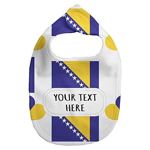 Heart Flag Bib - Baby Fleece Bib Custom Bosnia Flag Heart Pattern Unisex Children, One Size