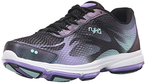 Ryka Women's Devotion Plus 2 Walking Shoe, Black/Purple, 9.5 M US (Women Box Shoes Wide Toe)