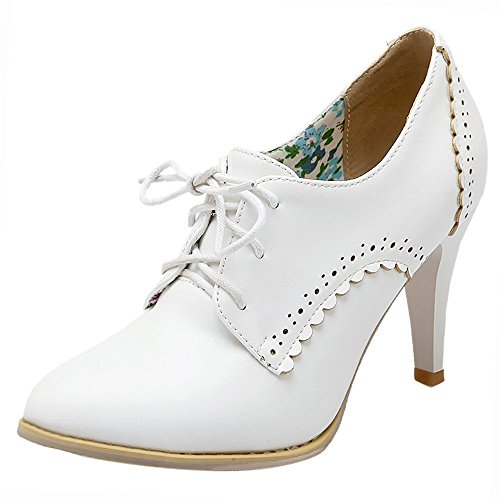 Lace Pump KemeKiss White up Shoes Women Owfqfxtz
