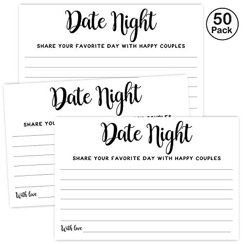 Bridal Showers Ideas (50 Date Night Ideas Cards, Wedding Advice Cards for Bridal Shower, Married Couples, Bride and Groom, 4x6)
