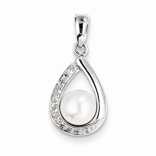 Solid 925 Sterling Silver 6mm FW Cultured Pearl & Diamond Teardrop Pendant (.04 cttw.) (22mm x 10mm)