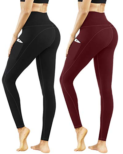 PHISOCKAT High Waist Yoga Pants 2 Packs, Tummy Control & Butt Lifting, 4 Way Stretch Women Yoga Leggings with 3 Pockets (Black+Wine, Medium)